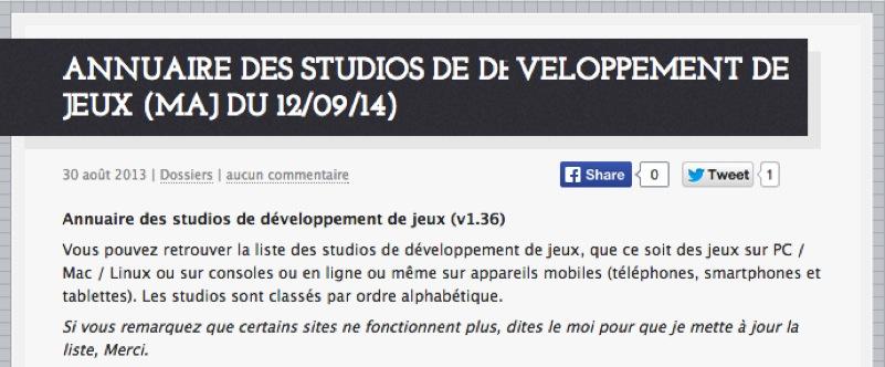 Annuaire des studios de développement de jeux (maj du 30/03/16)