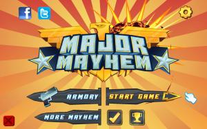Major Mayhem - menu