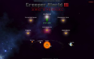 Creeper World 3- Arc Eternal - menu